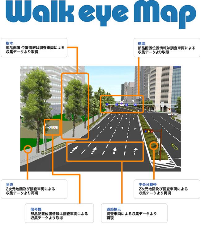 3次元デジタル地図データ「Walkeye Map」
