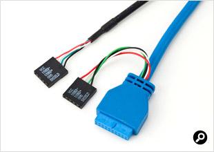 前面のUSB 3.0ケーブルは内部ピンヘッダーに挿すタイプ