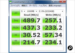 ランダムデータでテストしたCrystalDiskMark 3.0.1の結果画面