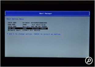 BIOS上でもUSB接続の光学式ドライブとして問題なく認識された