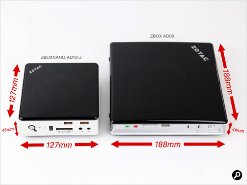 ZBOX AD06とZBOXNANO-AD12-Jを並べた