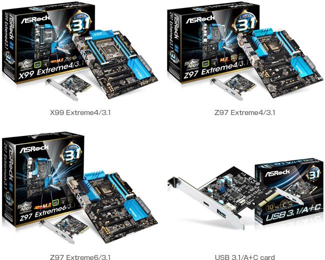 X99 Extreme4/3.1、Z97 Extreme6/3.1、Z97 Extreme4/3.1、USB 3.1/A+C card 製品画像