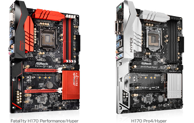 ASRock H170 Performance/Hyper、H170 Pro4/Hyper 製品画像