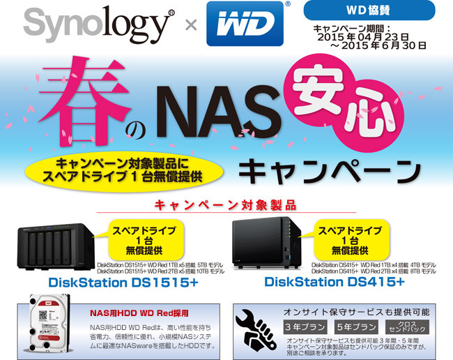 Synology×WD Red 春のNAS安心キャンペーン