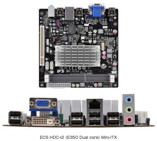 ECS社製 AMD Fusion APU搭載 Mini-ITXマザーボード「HDC-I2」