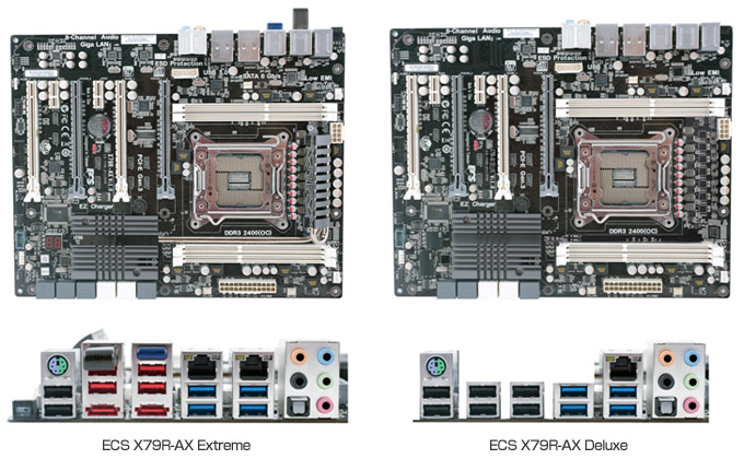X79R-AX Extreme、X79R-AX Deluxe 製品画像