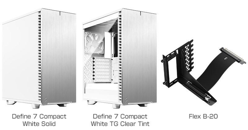 Fractal Design Define 7 Compact White Solid、Define 7 Compact White TG Clear Tint、Flex B-20 製品画像