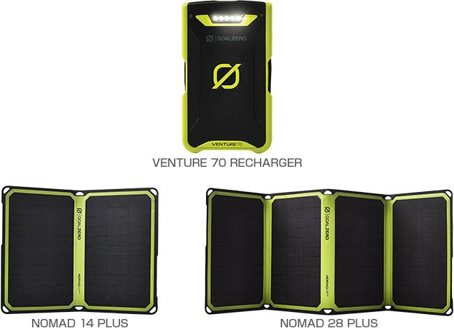 Goal Zero Venture 70 Rechargerシリーズ、Nomad 14 Plus、Nomad 28 Plus 製品画像