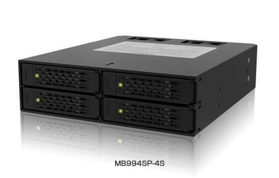 ICY DOCKブランド製、5インチベイに4台の2.5インチドライブ搭載可能な「MB994SP-4S」を発売