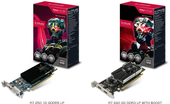 R7 250 1G GDDR5 LP、R7 240 2G DDR3 LP WITH BOOST 製品画像