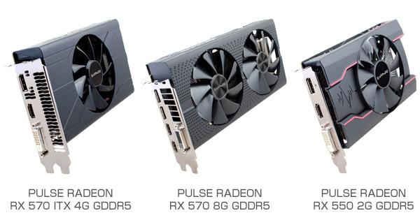 SAPPHIRE PULSE RADEON RX 570 ITX 4G GDDR5、PULSE RADEON RX 570 8G GDDR5、PULSE RADEON RX 550 2G GDDR5 製品画像