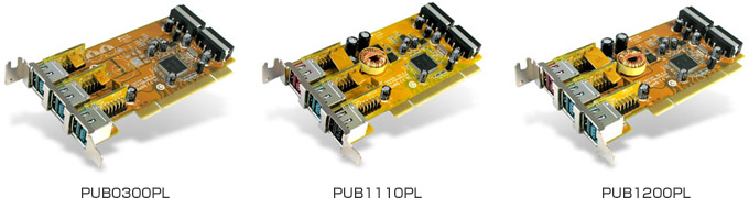 SUNIX社製、PCIバスインターフェイス電源供給可能のUSBカード3製品