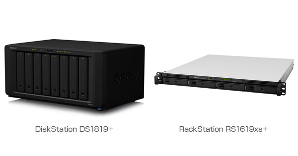 Synology DiskStation DS1819+、RackStation RS1619xs+ 製品画像