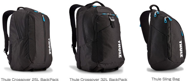 Thule Crossover 25L BackPack、Thule Crossover 32L BackPack、Thule Sling Bag 製品画像
