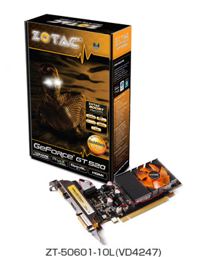 ZOTAC GeForce GT520 1GB DDR3 PCIE LP