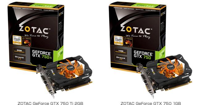 ZOTAC GeForce GTX 750 Ti 2GB、ZOTAC GeForce GTX 750 1GB 製品画像