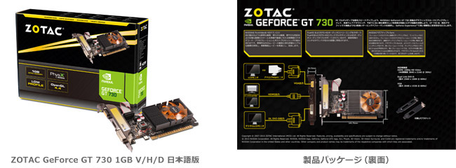 ZOTAC GeForce GT 730 1GB V/H/D 日本語版 製品画像