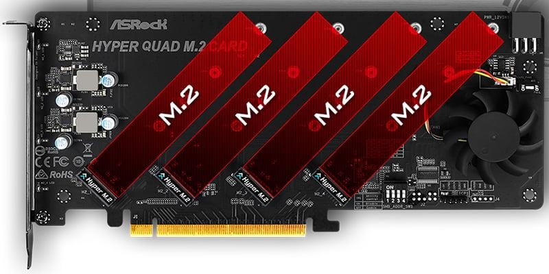 M.2 SSDを4基搭載可能