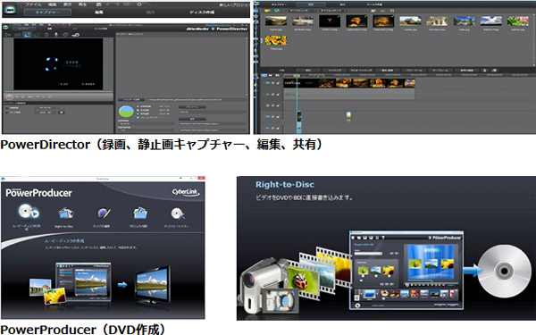 ビデオ編集ソフト、ディスクオーサリングソフトを付属