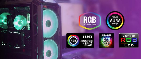 カスタマイズ可能なRGB LEDを装備