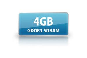高速大容量4GB GDDR3専用メモリ搭載
