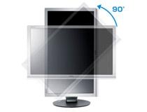 90°ピボット、縦画面表示の切り替えが可能