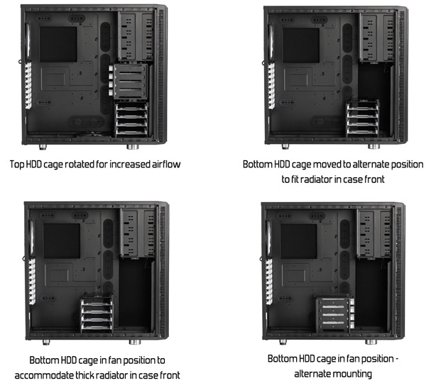 HDDケージの位置調整・取り外しに対応