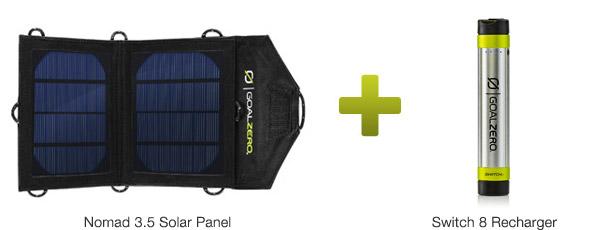 ソーラーパネルとモバイルバッテリーのセットモデル