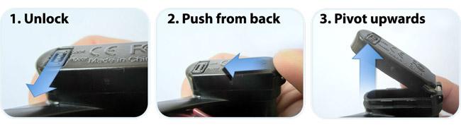 バッテリーカバーの開け方
