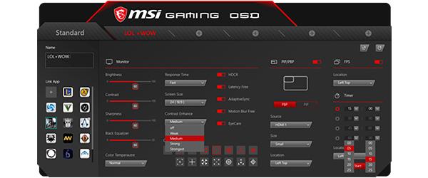 キーボードやマウスでOSDメニューを操作可能な「GAMING OSD APP」
