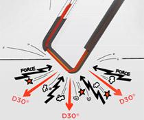 優れた衝撃吸収素材「D3O」を採用