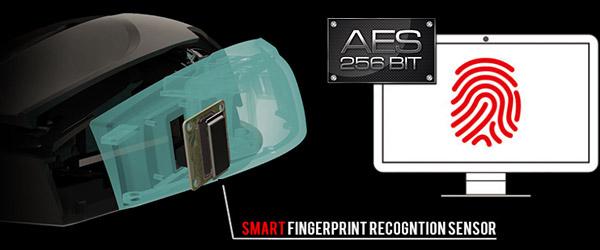 高セキュリティ性の指紋認証センサーを搭載