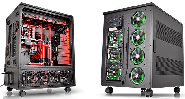 ケース各所に冷却ファンおよび水冷ラジエータを搭載可能
