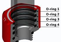 より強力なシールを実現する4つのOリングを採用
