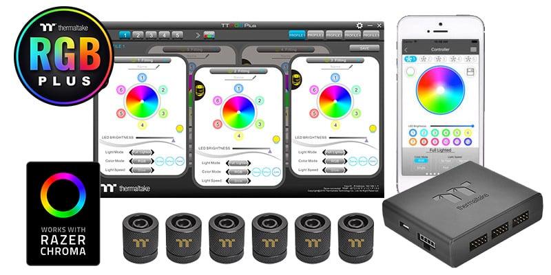 各フィッティングに6個のアドレサブルRGB LEDを搭載