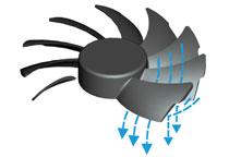 ファンブレードに独自形状の「Wind Blocker Frame」を採用