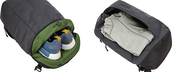 靴などを分離して収納できる独立ポケットを装備
