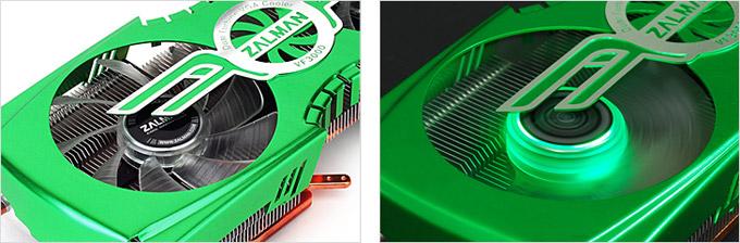 グリーンLEDを搭載した静音設計のデュアルファンを搭載