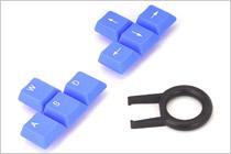 ゲームユーザー向けに青色キーキャップを付属