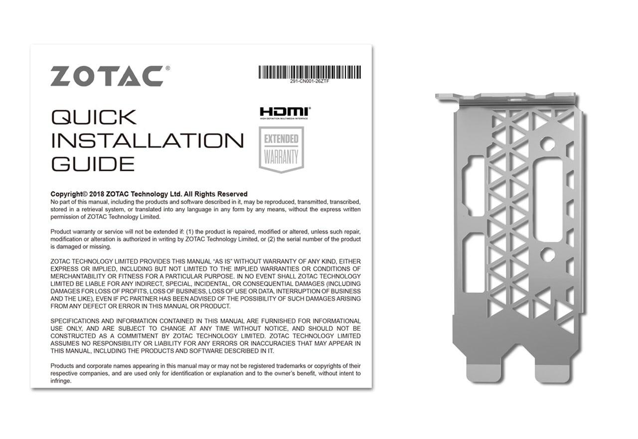 ZOTAC ZT-T16500H-10L GeForce GTX 1650 4GB GDDR5 128Bit 8000MHz
